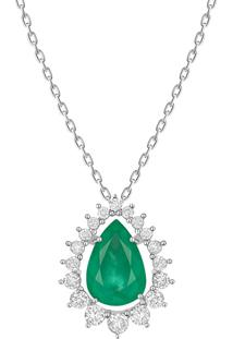 Pingente Em Ouro Branco 18K Com Diamante, Esmeralda - Aria