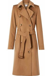 Burberry Trench Coat De Cashmere - Marrom