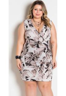 Vestido Envelope Com Argola Plus Size Folhagem