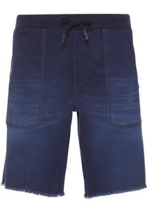 Bermuda Masculina Jeans Moletom Silk Calvin - Azul