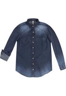 Camisa Jeans Em Tecido De Algodão Com Efeito Estonado