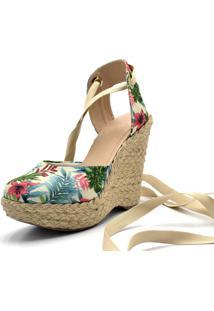 Sandália Plataforma Gisela Costa Floral Bege