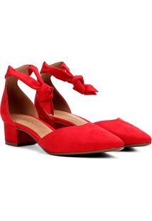 Scarpin Bebecê Amarração Feminino - Feminino-Vermelho