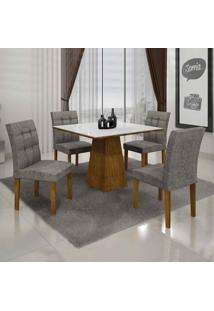 Conjunto De Mesa Com 4 Cadeiras Itália I Canela E Cinza