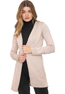 Cardigan Calvin Klein Jeans Tricot Liso Bege