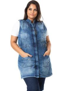 Colete Jeans Maxi Com Lycra Plus Size Confidencial Extra Feminino - Feminino-Azul