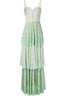 Lethicia Bronstein Vestido Longo Em Renda - Verde