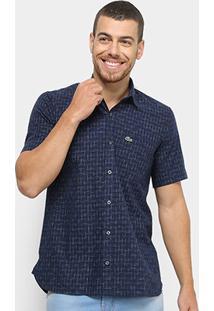 Camisa Lacoste Manga Curta Estampada Masculina - Masculino-Marinho