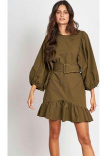 Vestido Curto De Sarja Com Cinto Verde