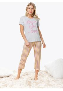 Pijama Feminino Estampado Listrado Malwee Liberta