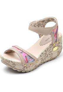 Sandalia Top Franca Shoes Betina Beker Plataforma Anabela Feminina - Feminino-Bege