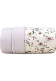 Edredom Malha In Cotton Floral Casal- Off White & Bege Ealtenburg