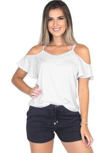 Blusa Camisa Renda Alça Bravaa Modas 240 Branco