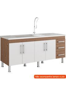 Balcão De Cozinha Flex 4 Pt 3 Gv Amêndoa E Branco