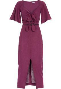 Vestido Midi Laços Iorane Nxt Lvl - Vinho