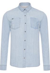 Camisa Masculina Jeans Bolsos Diferenciados - Azul