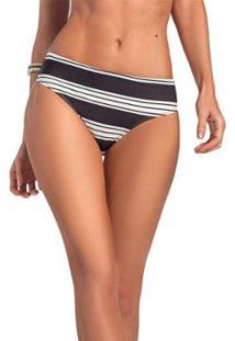 Tanga Slim Listrado Vestem - Feminino-Preto+Branco