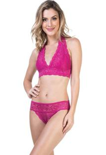 Conjunto Lingerie Top E Biquíni Renda Pink | 541.724