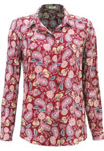 Camisa Intens Manga Longa Viscose Cashmere Vermelha
