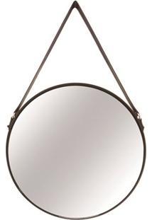 Espelho Redondo Em Metal Preto E Couro M