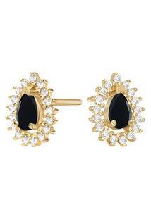 Brinco Ouro Amarelo Quartzo Negro E Diamantes