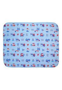 Cobertor Pequeno Bebê Masculino Azul Construção - Bercinho - Tamanho Único - Azul