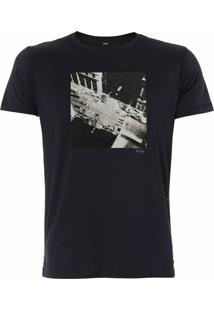 Camiseta Hugo Boss Masculina Black City Art Print Slim Fit Marinho
