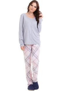Pijama Longo Xadrez Com Abertura Feminino Com Algodão Adulto