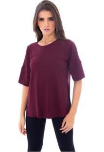 Blusa Moda Vicio Com Abertura Na Lateral Feminino - Feminino-Vinho
