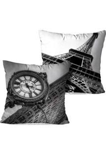 Kit 2 Capas Para Almofadas Decorativas Londres E Paris 45X45Cm