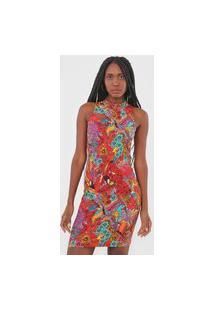 Vestido Colcci Curto Tropical Vermelho