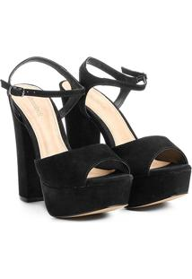 Sandália Couro Shoestock Meia Pata Feminina - Feminino-Preto
