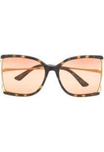 Gucci Eyewear Óculos De Sol Quadrado Tartaruga - Marrom