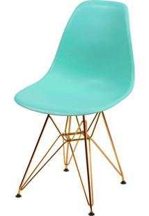 Cadeira Eames Polipropileno Verde Tiffany Base Cobre - 45973 - Sun House