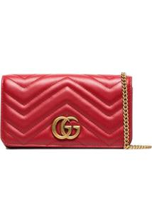 Gucci Red Marmont Chevron Quilted Leather Bag - Vermelho