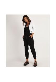 Macacão Jeans Feminino Jogger Com Zíper Preto