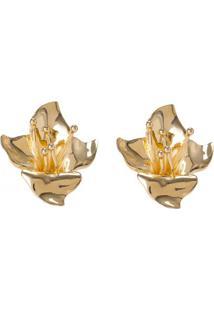 Amaro Feminino Brinco Flor Metal Color, Dourado