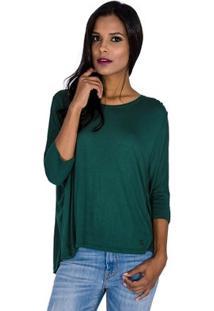 Blusa Ampla Tricot Cantão - Feminino-Verde