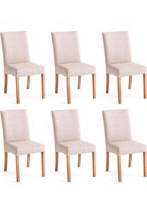 Conjunto Com 6 Cadeiras De Jantar Java Mescla E Castanho