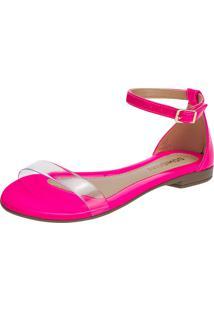 Sandália Feminina Rasteira Domidona Fluorescente Tira Transparente Rosa Neon