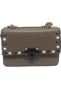 Bolsa Casual Transversal Alça Corrente Sys Fashion 8305 Caqui