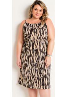 Vestido De Alças Midi Plus Size Zebra