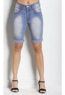 Bermuda Jeans Azul Claro Com Barra Dobrada