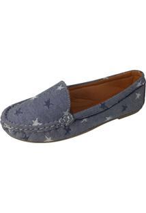 Sapatilha Mocassim Moda Pã© Costurado À Mã£O Cor Azul Jeans Estrela - Azul - Feminino - Dafiti