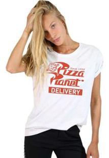 Camiseta Joss Básica Planet Pizza Feminina - Feminino-Branco