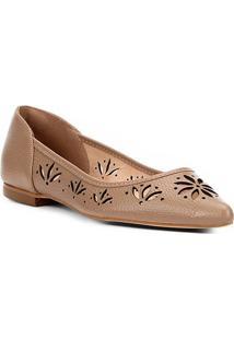 Sapatilha Couro Shoestock Bico Fino Flor Feminina