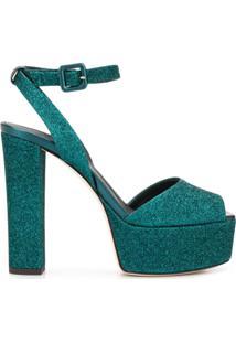 Giuseppe Zanotti Sandália Plataforma Com Glitter - Azul