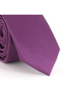 Gravata Slim Com Desenho Geométrico Quadriculado Rosa Pink