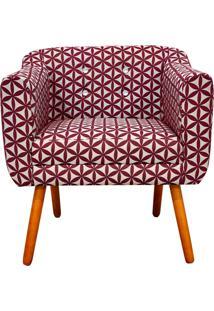 Poltrona Decorativa Julia Linho Floral Geométrico Vermelho A35 Com Strass - D'Rossi