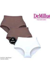 Calcinha Clássica Cotton Demillus 57051 T. P/Xg Rosa Nude